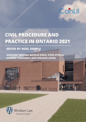 Cover page of Civil Procedure in Ontario.