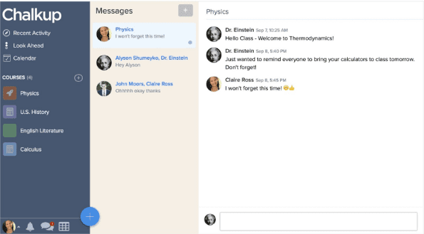 Chalkup's instant messaging feature