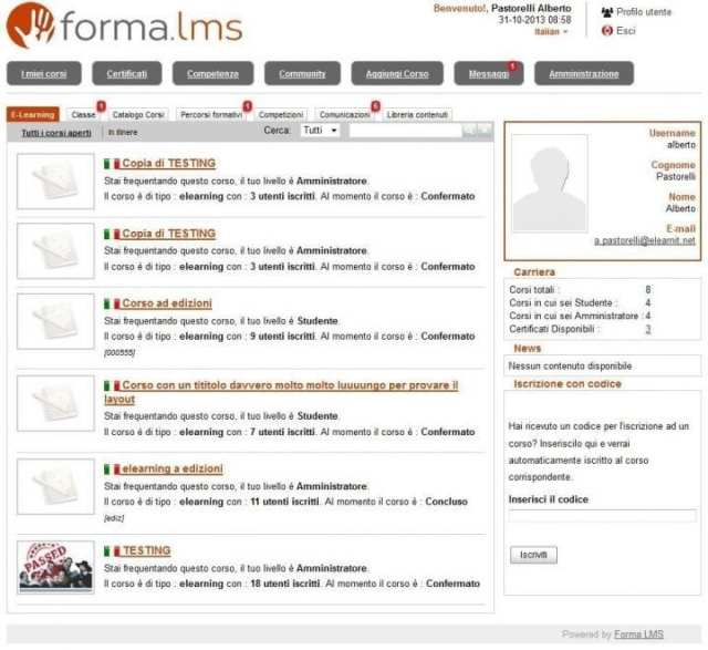 Forma.lms course list; Forma comes in multiple languages, including English