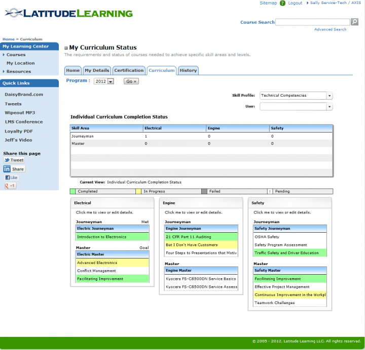 A course in LatitudeLearning LMS
