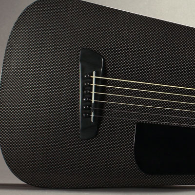 Upclose shot of a Blackbird Rider carbon fiber guitar