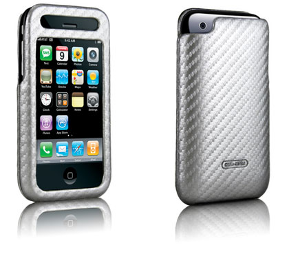 Case Mate Apple iPhone 3G carbon fiber leather silver case