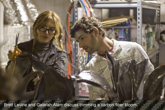 Brett Levine and Gelarah Alam discuss trimming a carbon fiber bloom.