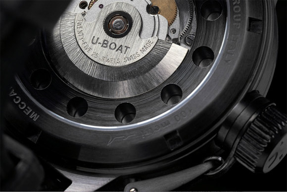 Close up of the automatic movement visible from the back of the AB 4 and AB 4/2