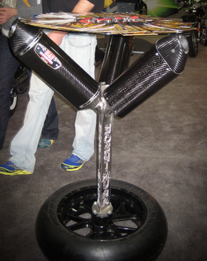 Carbon fiber motorcycle exhaust table