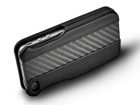 Ion Carbon Fiber and Leather Shell iPhone 4 / 4S Case