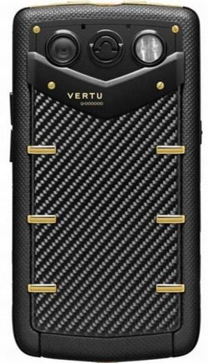 Vertu carbon fiber gold phone