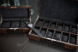 Carbon fiber and macassar watch cases