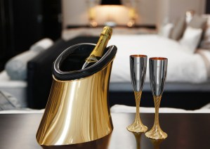 Aston Martin Grant Macdonald gold and carbon fiber champagne bottle cooler