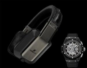Hublot carbon fiber headphones with watch