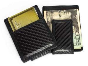 Carbon Fiber Leather Money Clip Wallet