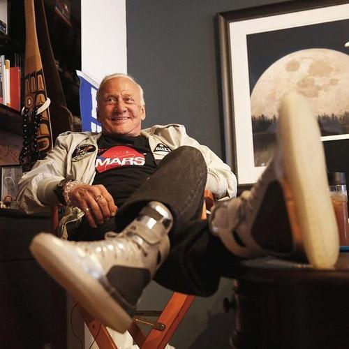 Buzz Aldrin wearing GE carbon fiber moon sneakers