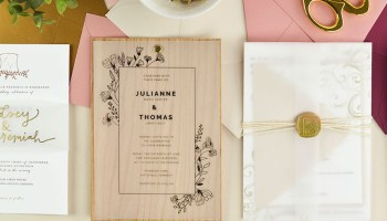 Modern DIY Wedding Invitations With Vellum Wax Seals