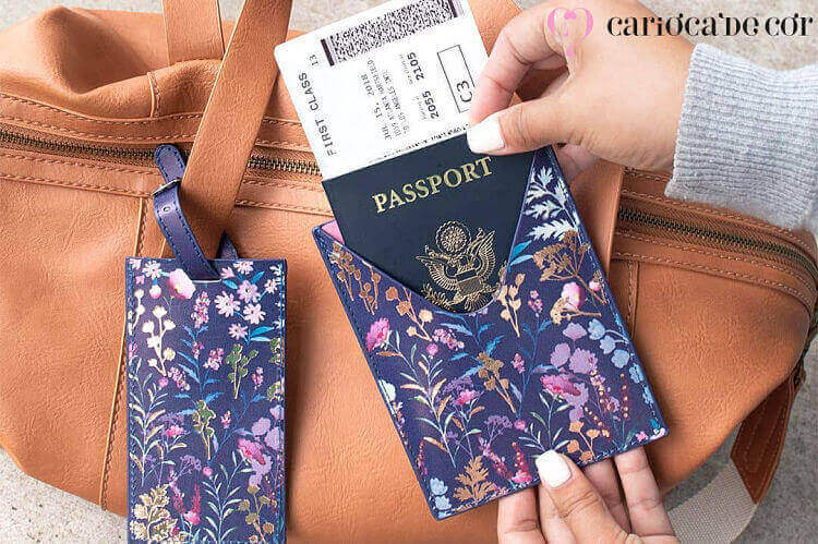 porta passaporte estampado