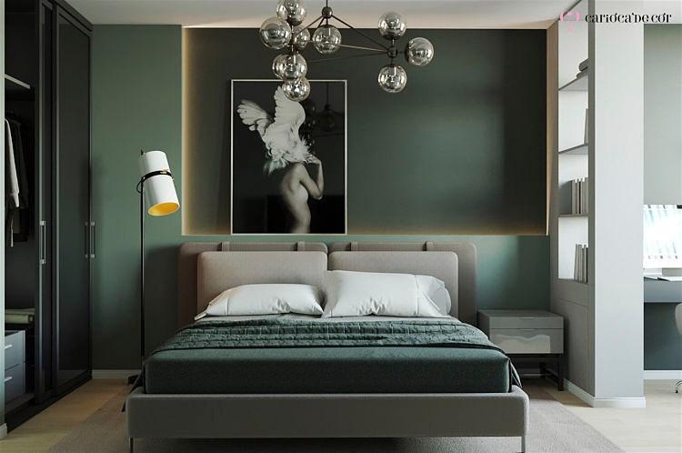 quarto aconchegante verde