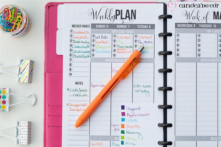 cores para organizar o planner