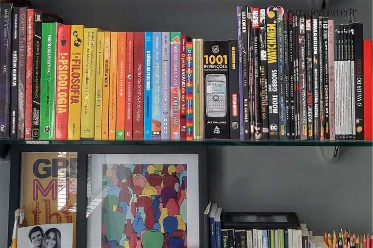 cadernos e livros organizados