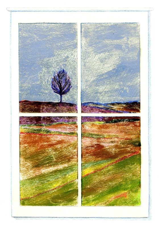 April Window. monoprint, Carol Crump Bryner, 1986