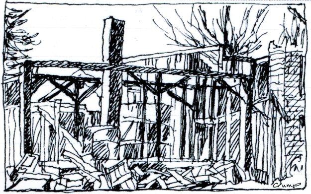 Farmhouse Ruins, Carol Crump Bryner, pen and ink, 2013