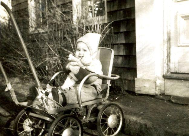 Carol out on the sidewalk, 1946