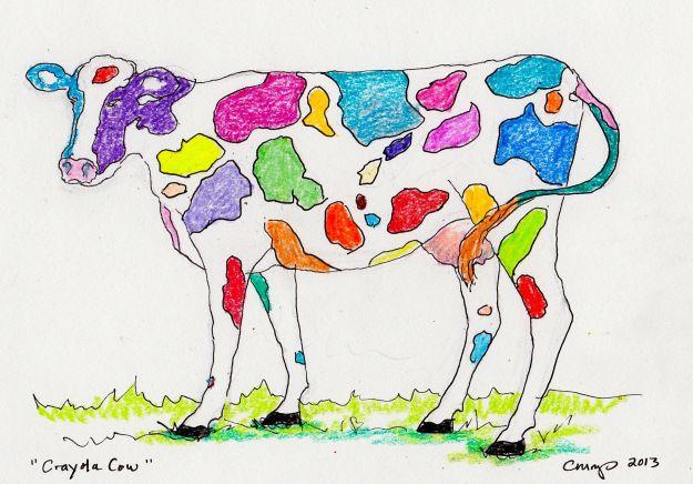 """""""Crayola Cow,"""" Carol Crump Bryner, crayon, 2013"""