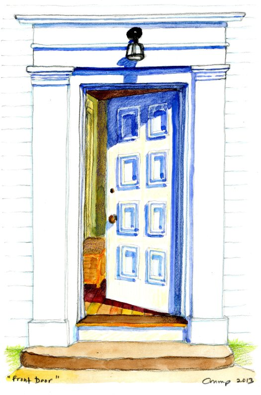 """Front Door,"" Carol Crump Bryner, gouache and pencil, 2013"