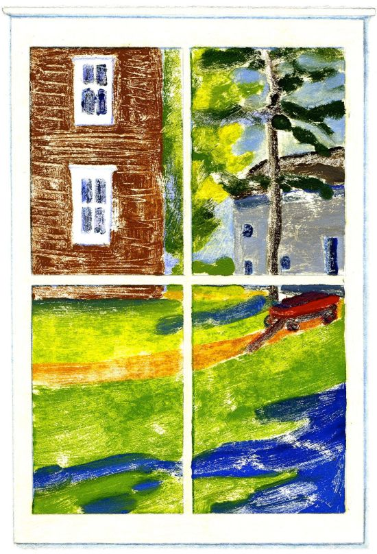 """August Window,"" Carol Crump Bryner, monoprint"
