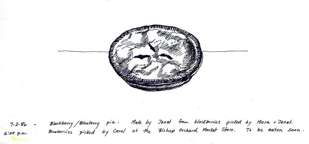 """Blackberry/Blueberry Pie,"" Carol Crump Bryner, pen and ink, 1986"