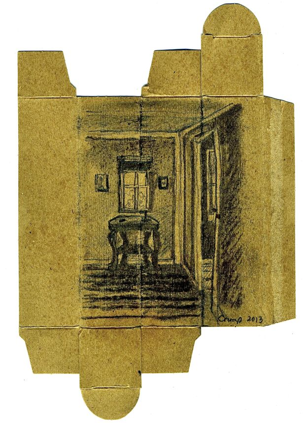 """Upstairs Hallway,""Carol Crump Bryner, pencil and charcoal on flattened cardboard box - after James Castle, 2013"