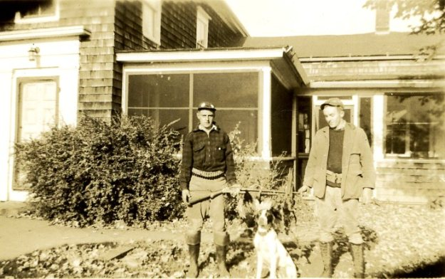 Francis Hall and Charlie Crump in front of Whirlwind Hill farmhouse