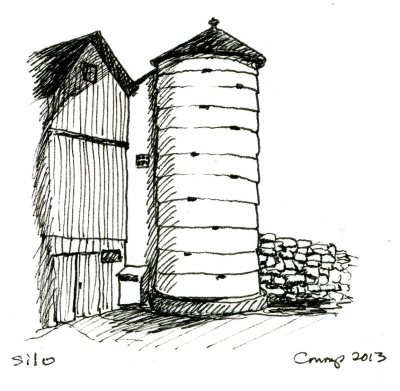 """Silo,"" Carol Crump Bryner, pen and ink, 2013"