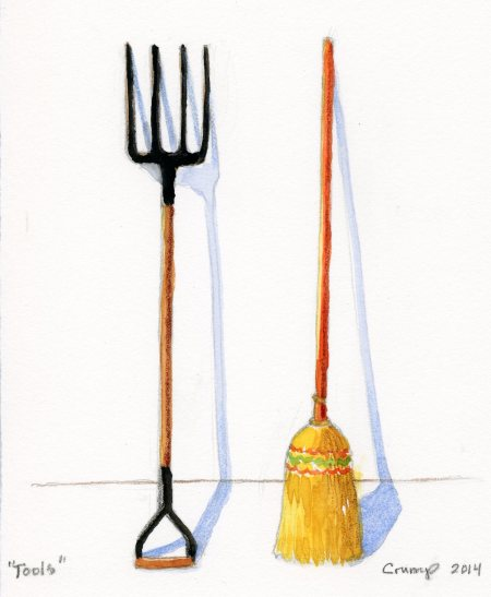 """Tools,"" Carol Crump Bryner, watercolor, 2014"