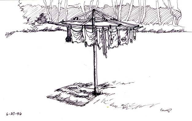 """Clothesline,"" Carol Crump Bryner, pen and ink, 1986"