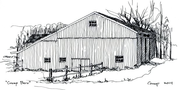 """Crump Barn, around 1990,"" Carol Crump Bryner, pen and ink, 2014"