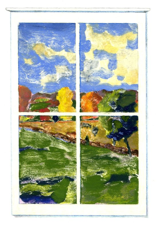 """October Window,"" Carol Crump Bryner, monoprint"