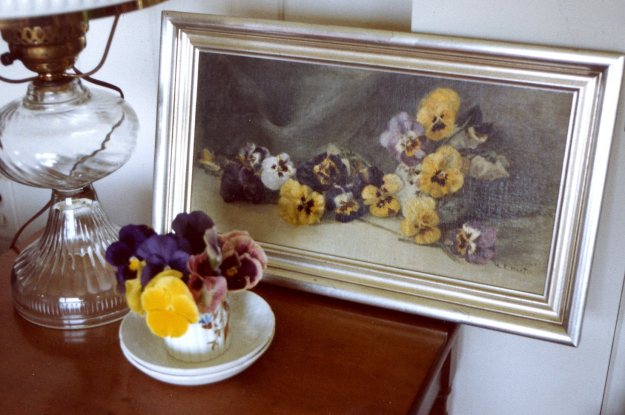 Janet's pansies with Mary's painting