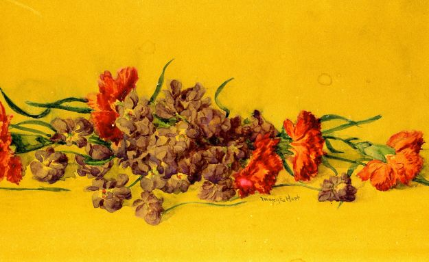 """Pinks and Violets,"" Mary E. Hart, watercolor, around 1870"