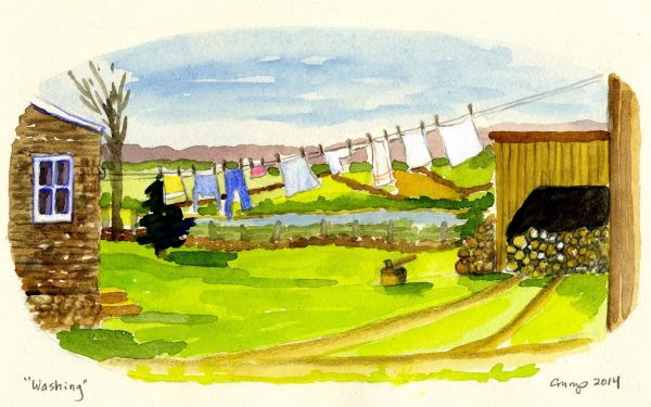 """Washing,"" Carol Crump Bryner, gouache and colored pencil, 2014"
