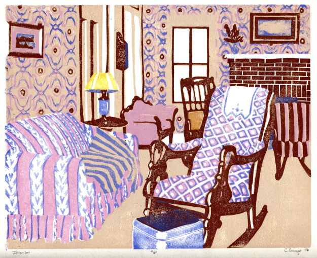 """Interior,"" (the farmhouse living room), Carol Crump Bryner, linocut, 1976"