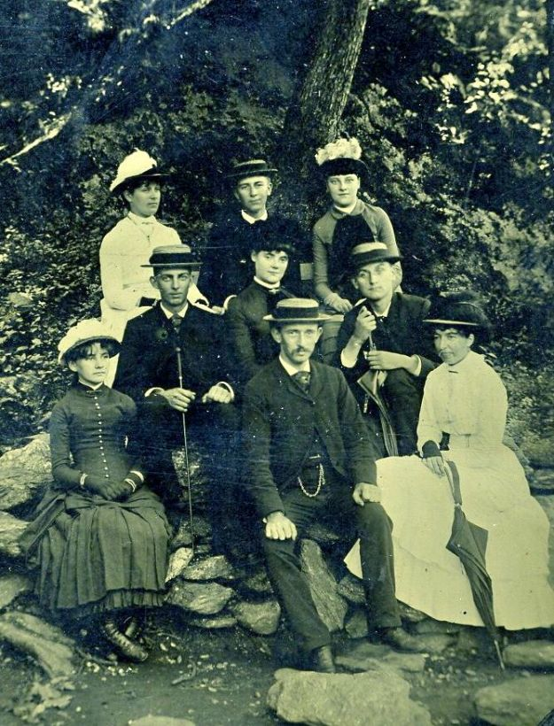 Hattie Hall at an outing, left front, about 1886