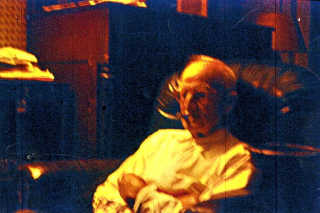 Grandpa Hall watching wrestling, photo courtesy of Nancy Teter Smith