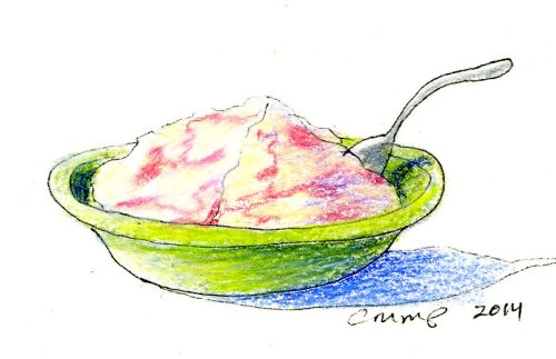 """Strawberry Ripple Ice Cream,"" Carol Crump Bryner, colored pencil, 2014"