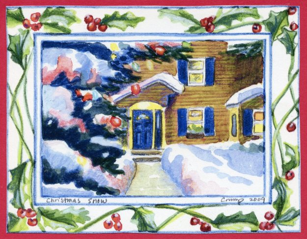 """Christmas Snow,"" Carol Crump Bryner, 2009 Christmas card"