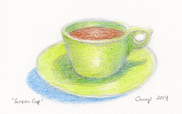 """Green Cup,"" Carol Crump Bryner, colored pencil, 2014"