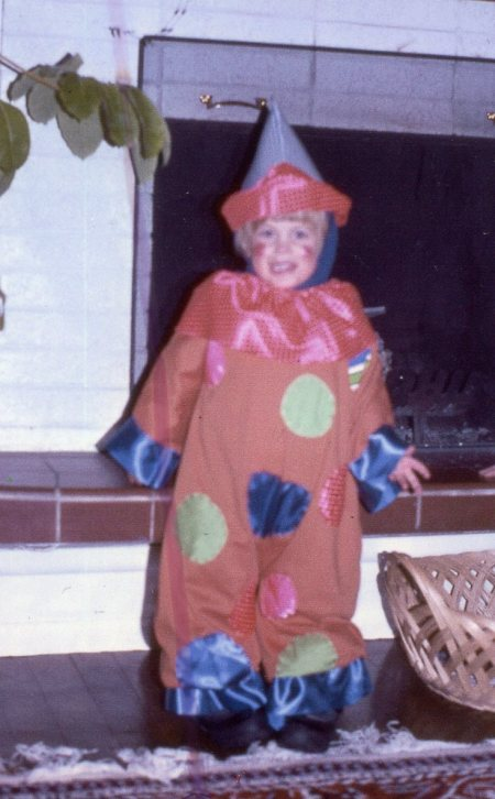 Paul in the clown costume, 1975
