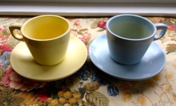 Blue and yellow Melmac cups