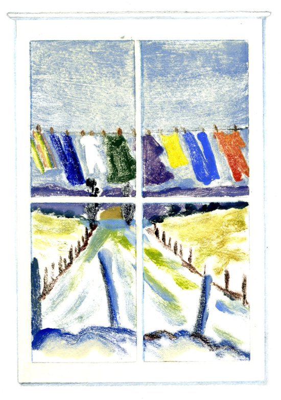 """January WIndow,"" Carol Crump Bryner, monoprint"