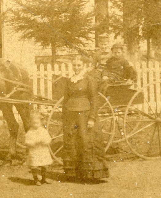 Lydia Jane Hall with horse and carriage, around 1870