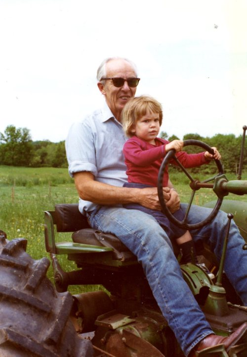 Charlie Crump and Paul Bryner on the John Deere, 1975