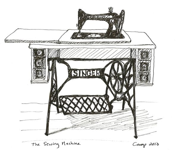 """The Sewing Machine,"" Carol Crump Bryner, pen 2013"